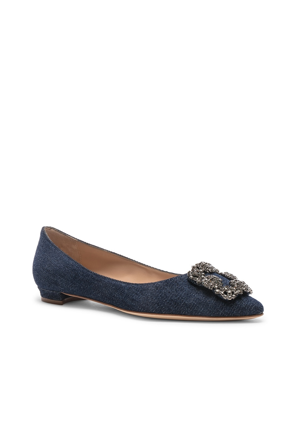 Image 2 of Manolo Blahnik Hangisiflat 10 Pea Flat in Jeans Delave