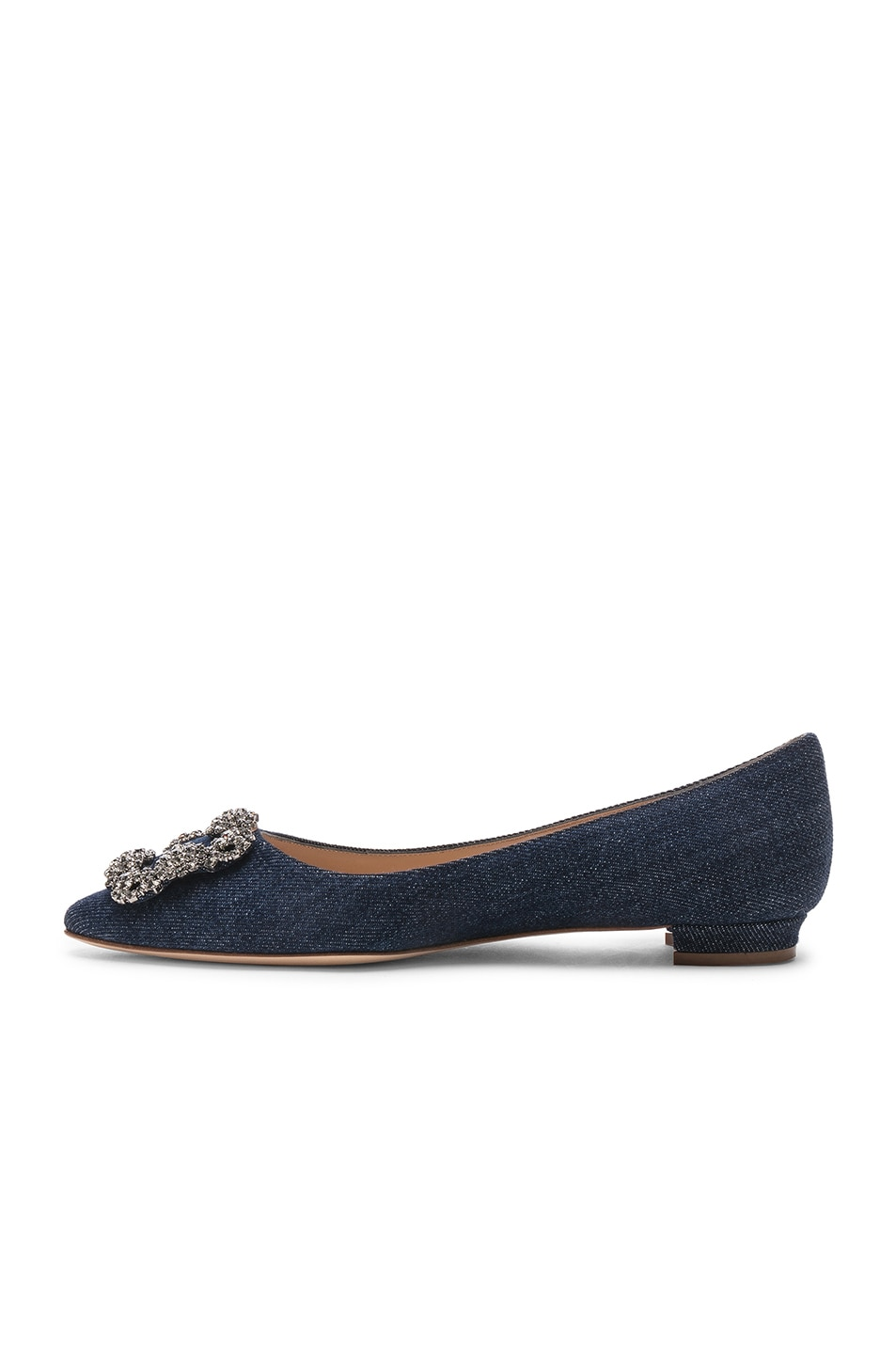 Image 5 of Manolo Blahnik Hangisiflat 10 Pea Flat in Jeans Delave