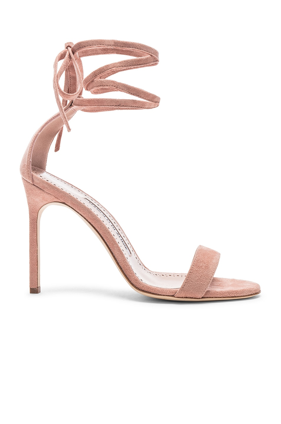 Image 1 of Manolo Blahnik Chaosbow Suede 105 Heel in Canyon Blush