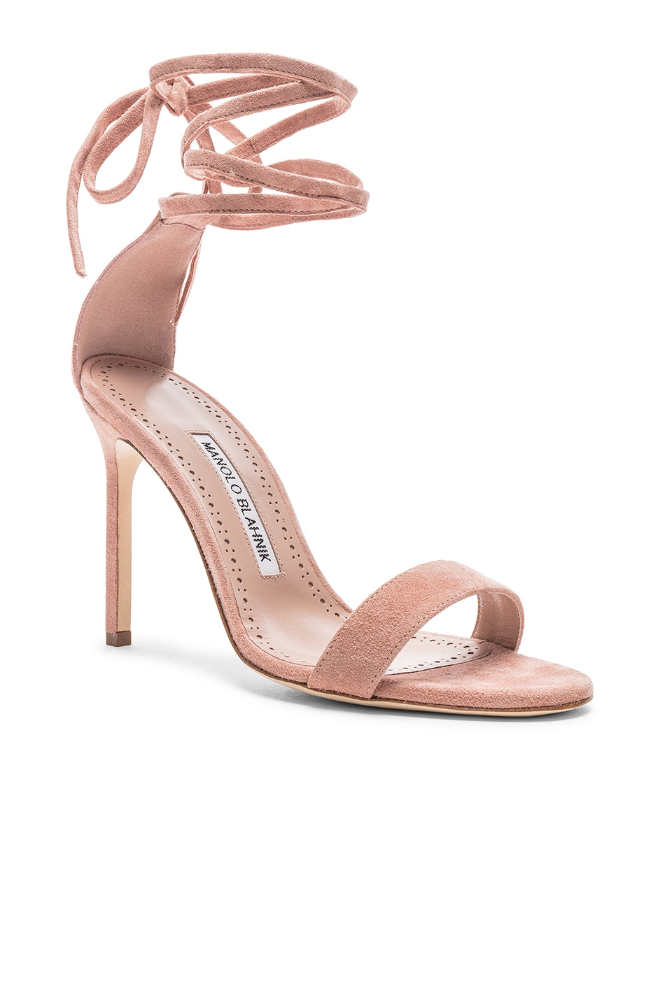 Image 2 of Manolo Blahnik Chaosbow Suede 105 Heel in Canyon Blush