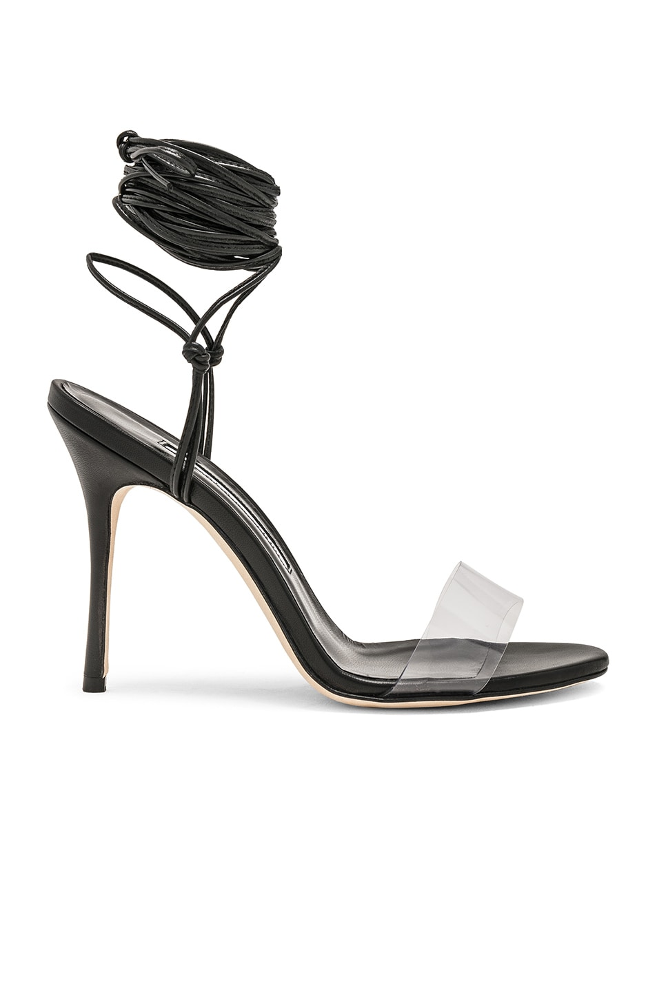 Image 1 of Manolo Blahnik Priscestro 105 Heel in Black & Clear