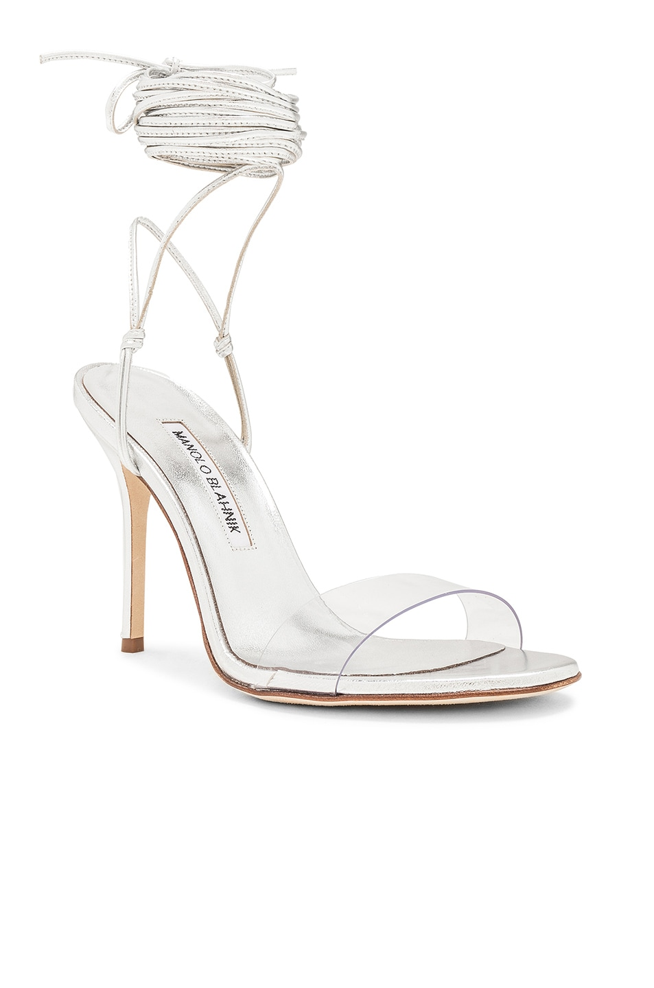 Image 2 of Manolo Blahnik Priscestro 105 Heel in Silver & Clear