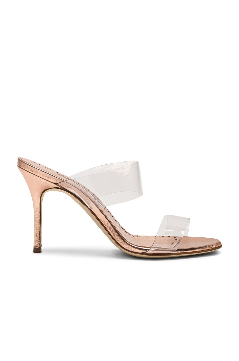 Image 1 of Manolo Blahnik Scolto 90 Mule in Cipria Rose Gold