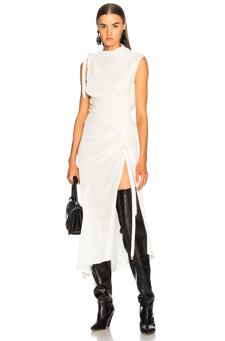 Monse Velvet Drawstring Dress in White