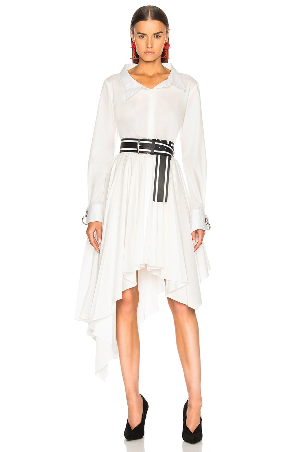 Image 1 of Monse Pleated Shirt Dress in White