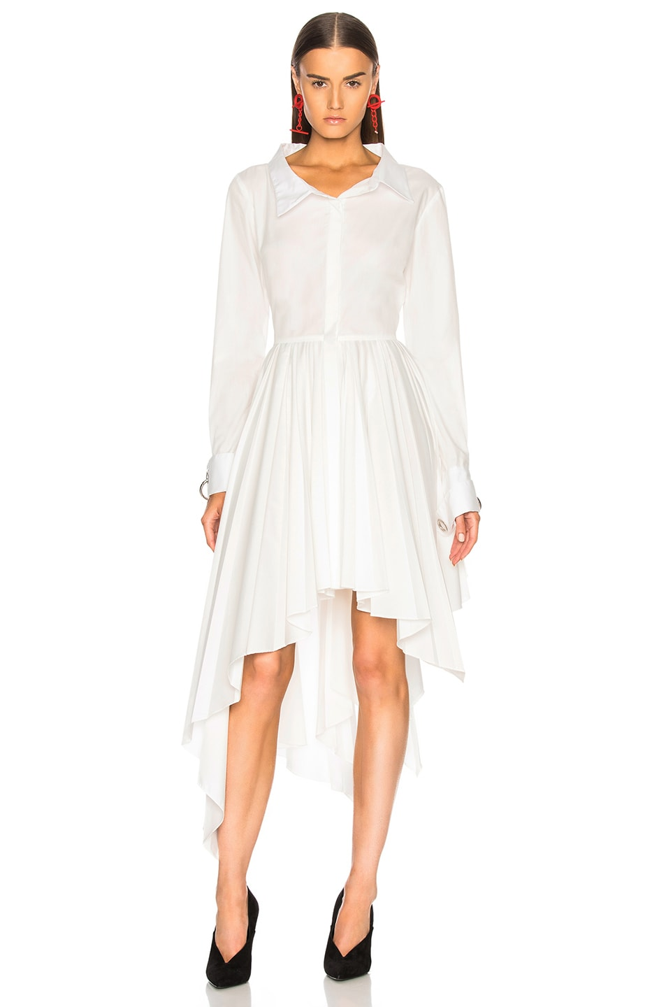 Image 2 of Monse Pleated Shirt Dress in White