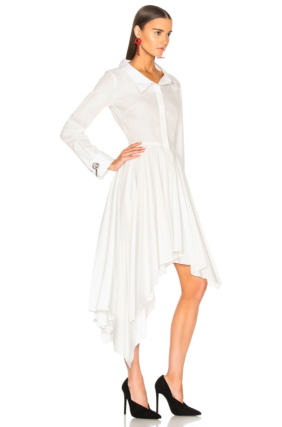 Image 3 of Monse Pleated Shirt Dress in White