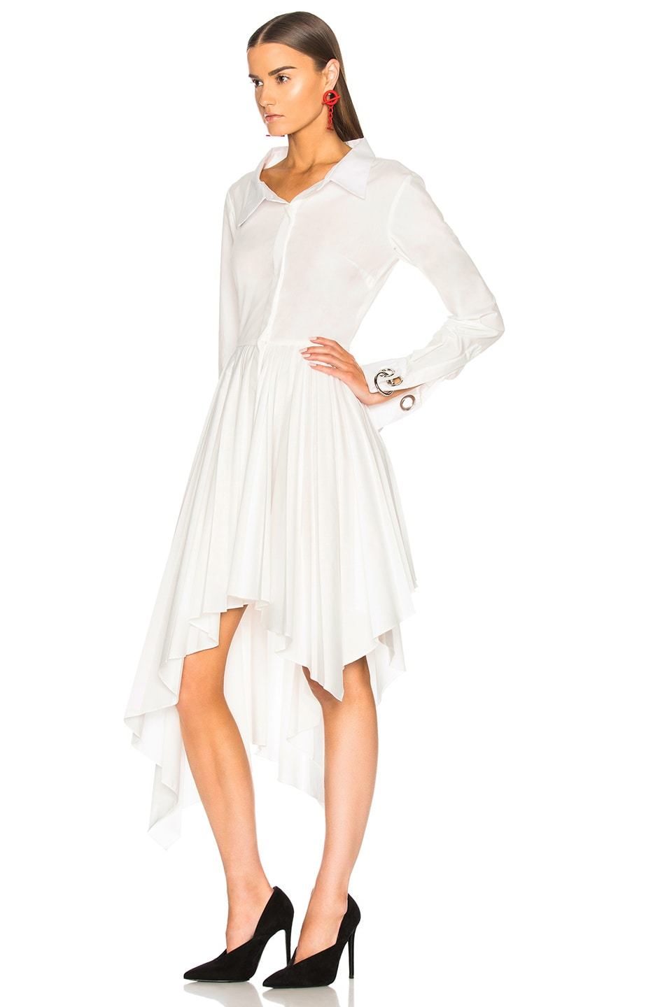 Image 4 of Monse Pleated Shirt Dress in White