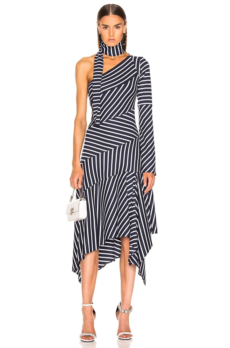 Image 1 of Monse Striped Chevron Jersey Dress in Navy & White