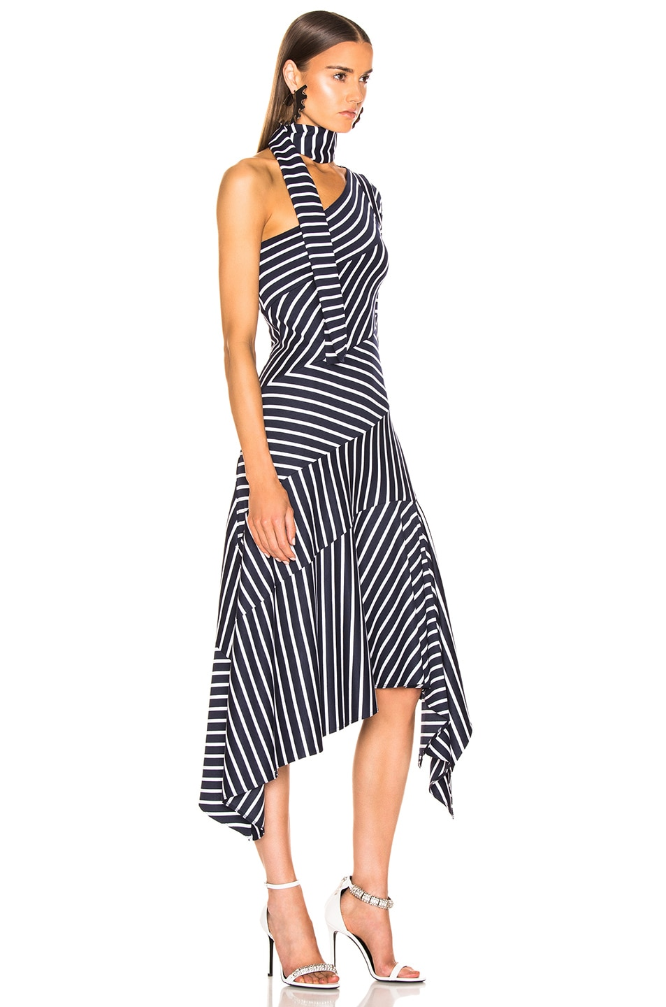 Image 2 of Monse Striped Chevron Jersey Dress in Navy & White
