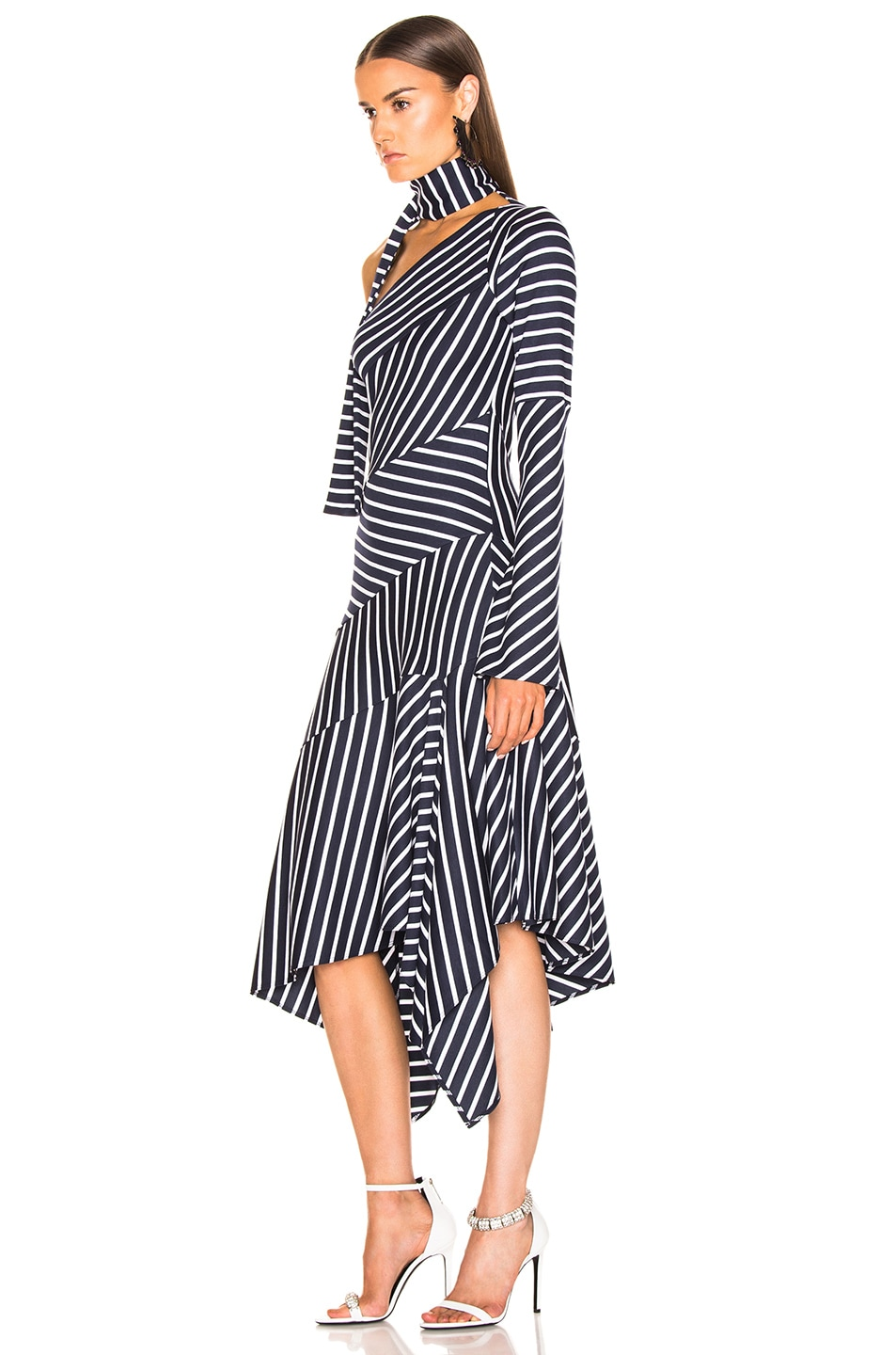 Image 3 of Monse Striped Chevron Jersey Dress in Navy & White