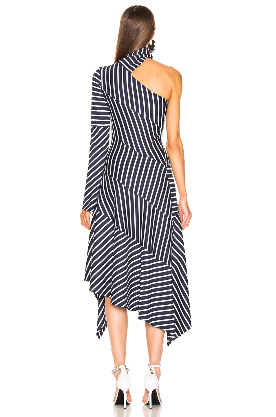 Image 4 of Monse Striped Chevron Jersey Dress in Navy & White
