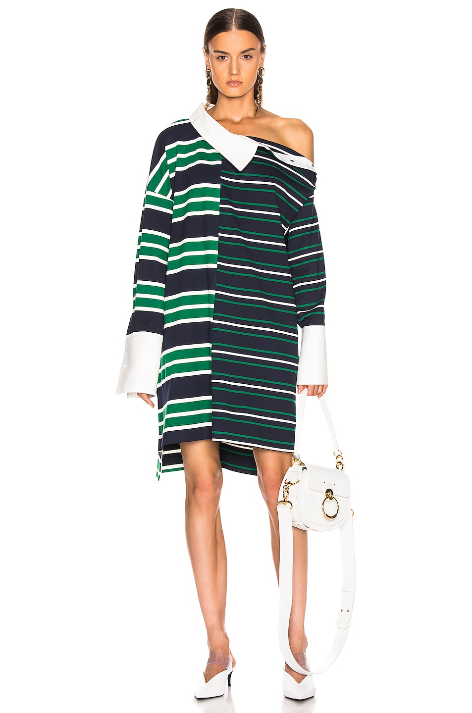 Image 1 of Monse Striped Shifted Rugby Dress in Navy, Green & Ivory
