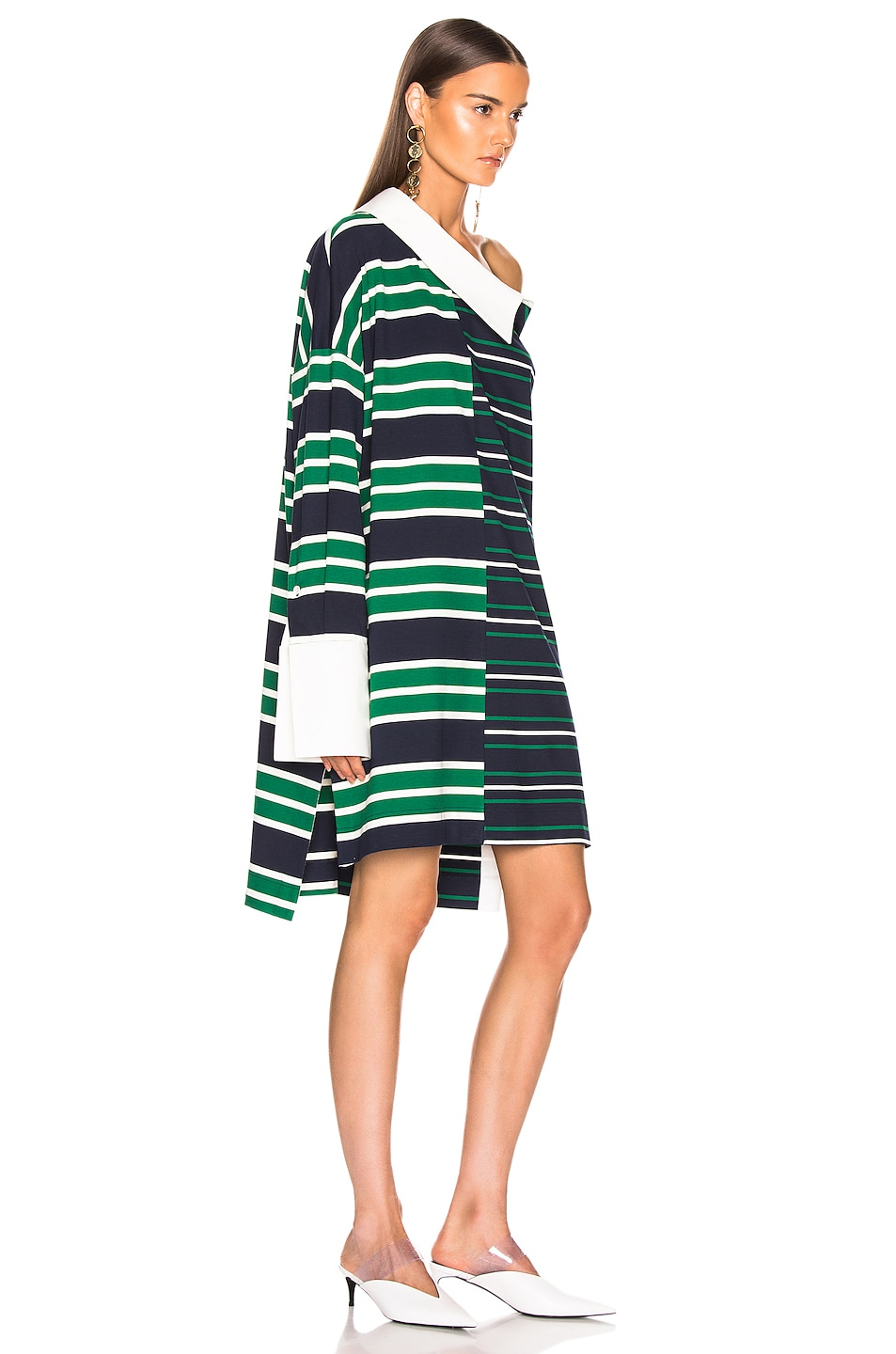 Image 2 of Monse Striped Shifted Rugby Dress in Navy, Green & Ivory