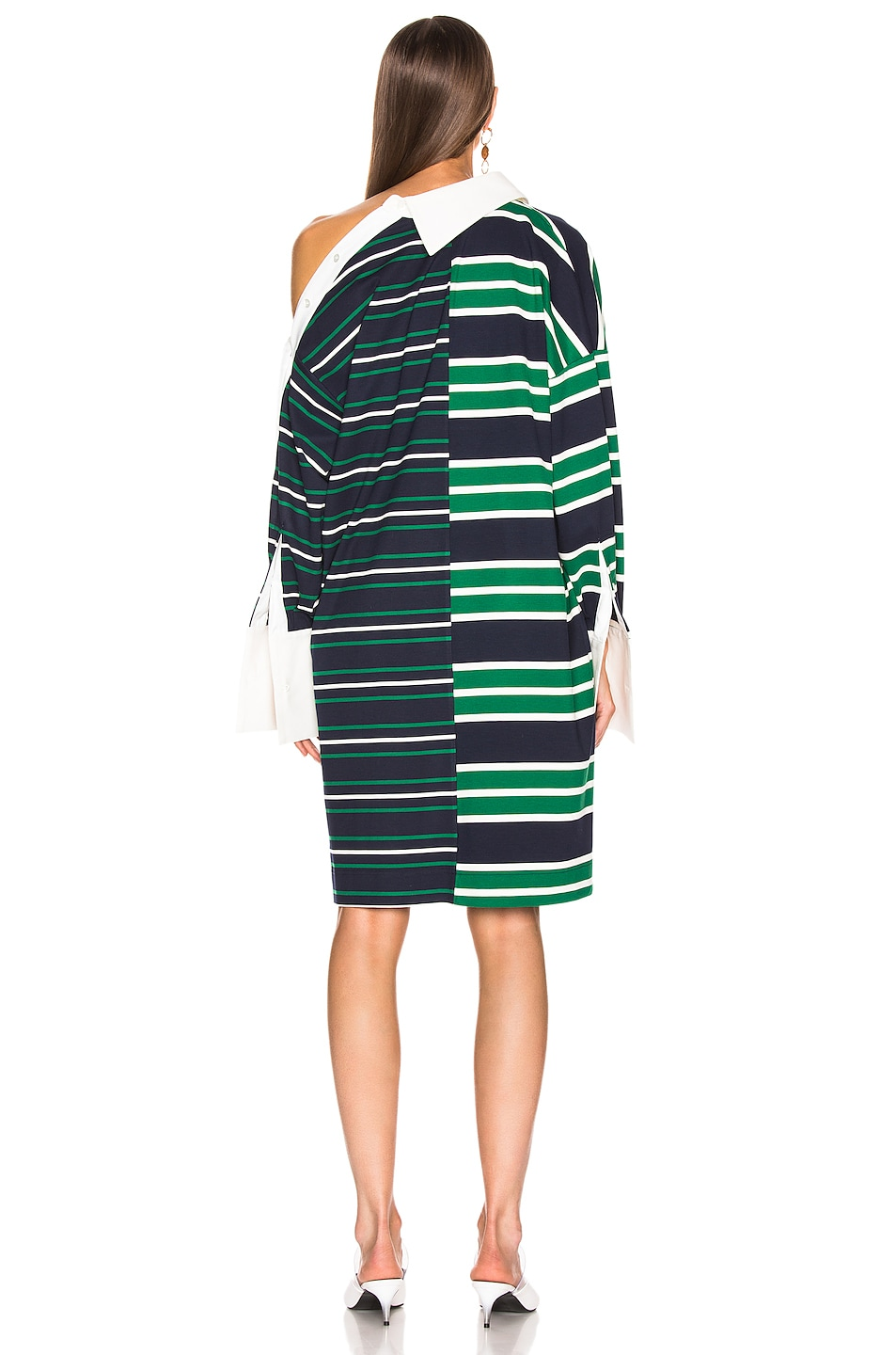 Image 4 of Monse Striped Shifted Rugby Dress in Navy, Green & Ivory