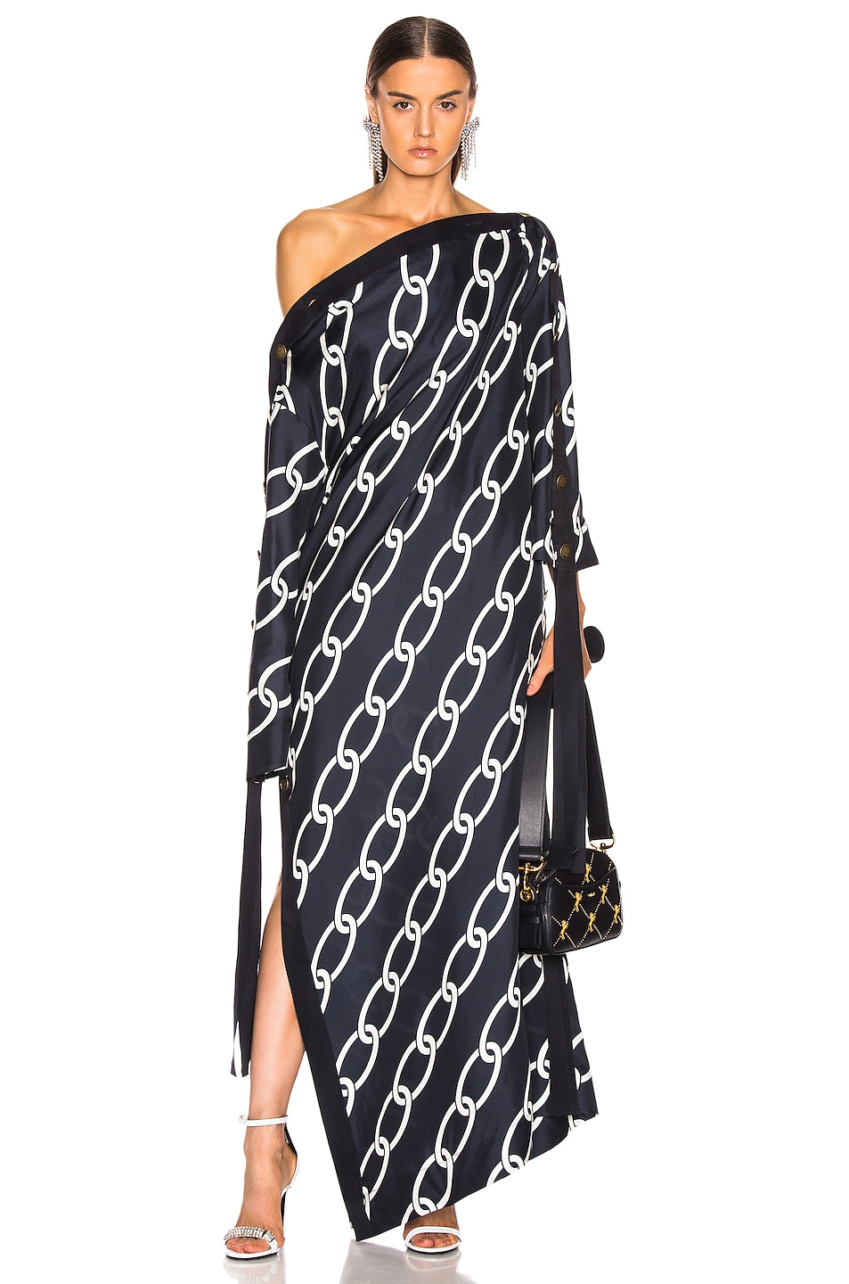 Image 1 of Monse Chain Print Caftan Dress in Navy & Ivory