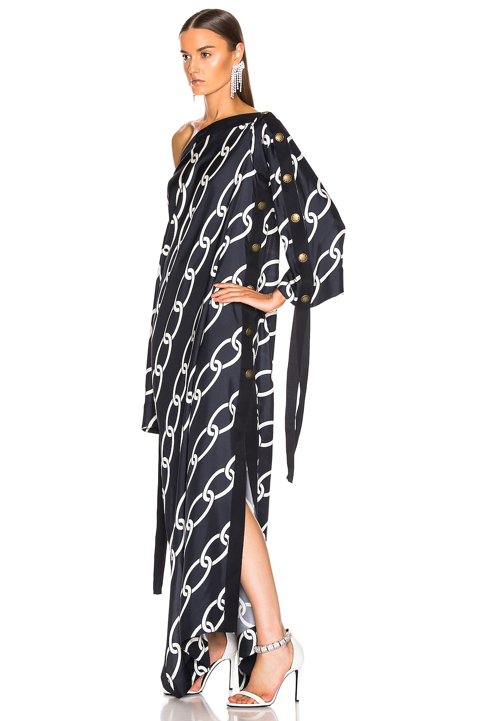 Image 3 of Monse Chain Print Caftan Dress in Navy & Ivory