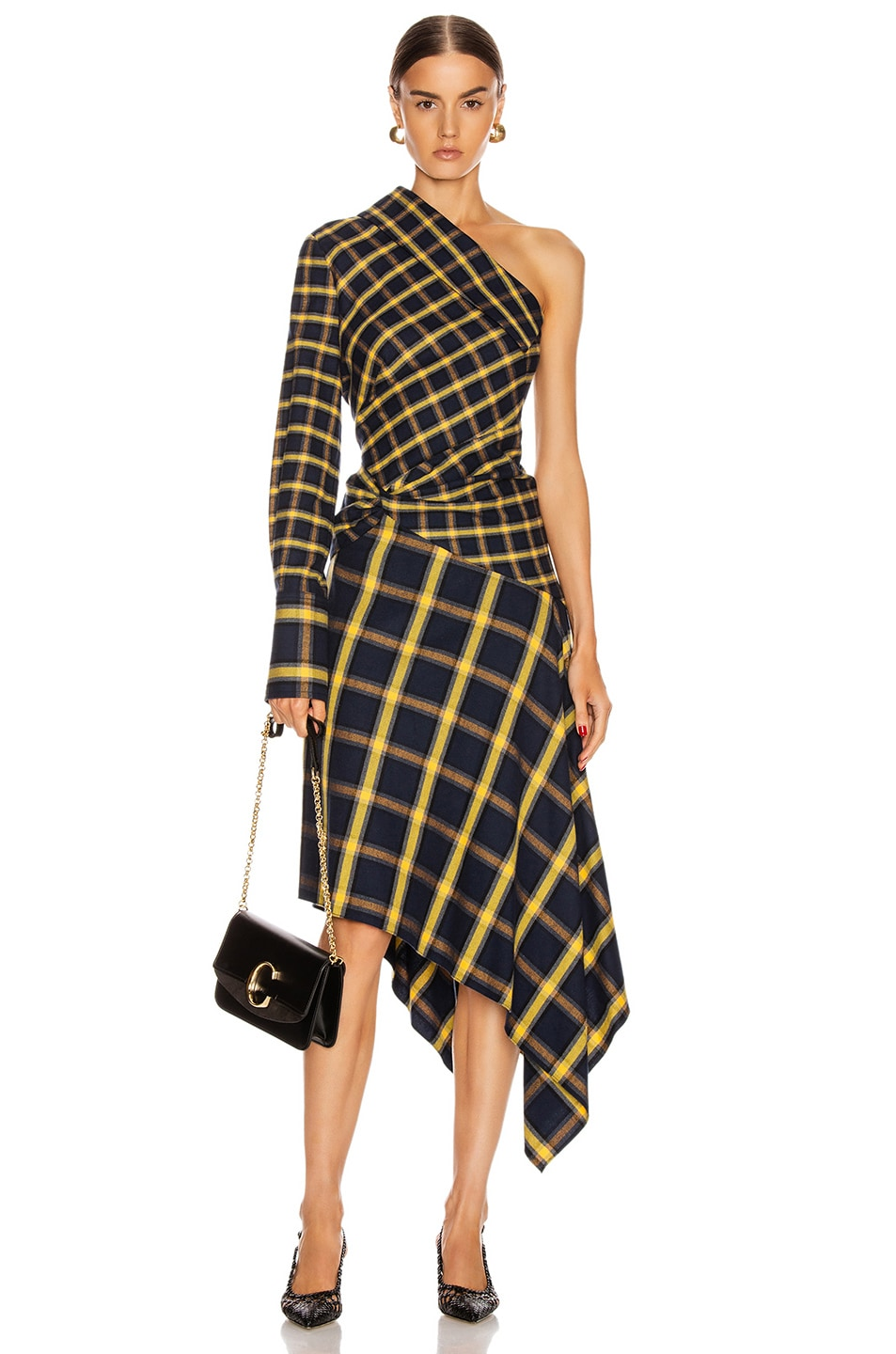 Image 1 of Monse Asymmetrical Patchwork Dress in Midnight & Yellow