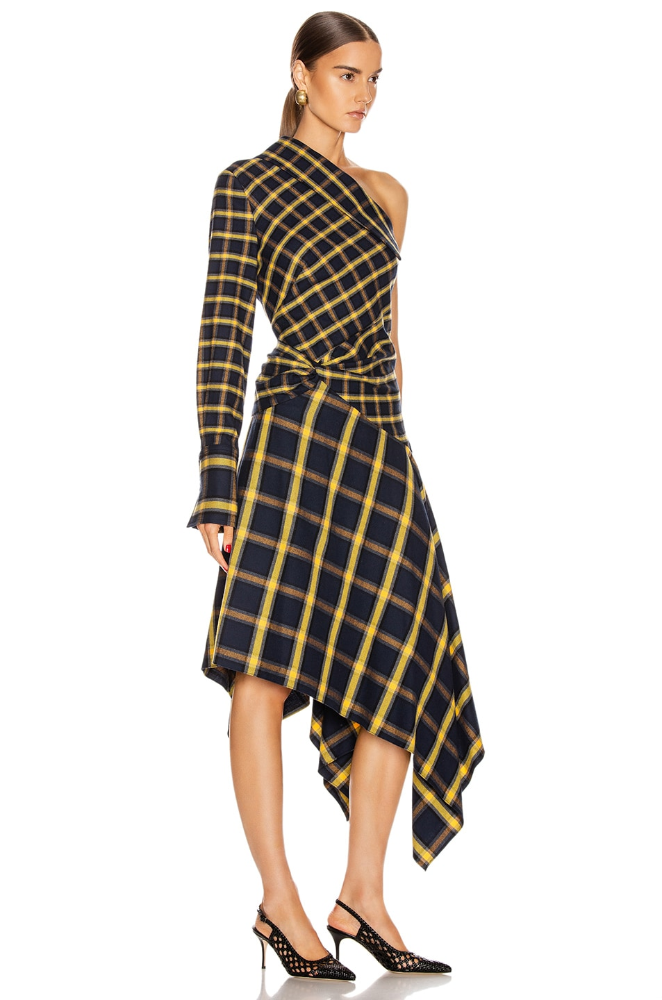 Image 2 of Monse Asymmetrical Patchwork Dress in Midnight & Yellow