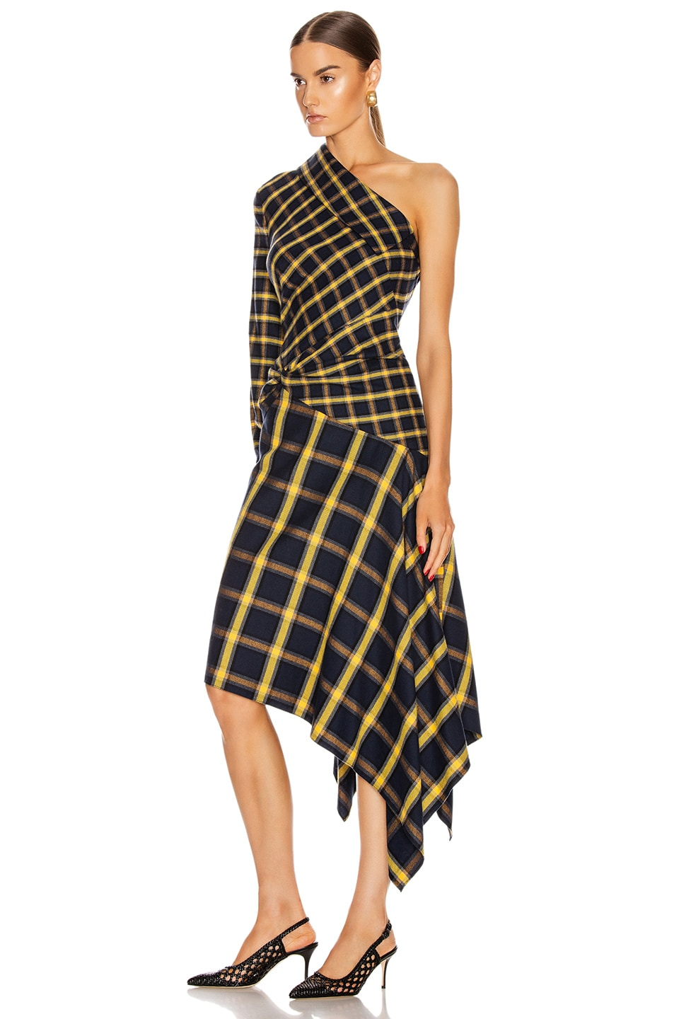 Image 3 of Monse Asymmetrical Patchwork Dress in Midnight & Yellow