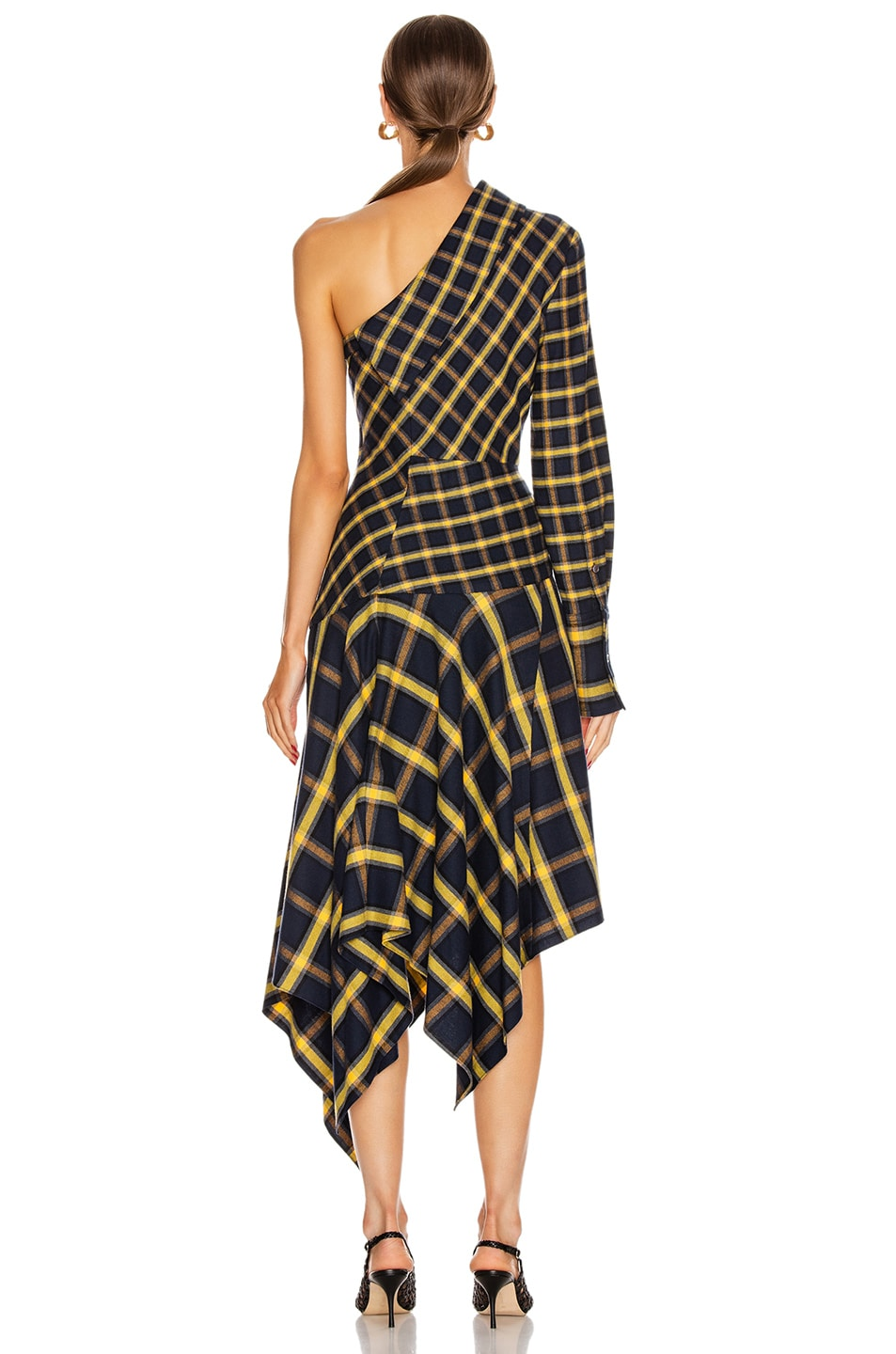 Image 4 of Monse Asymmetrical Patchwork Dress in Midnight & Yellow