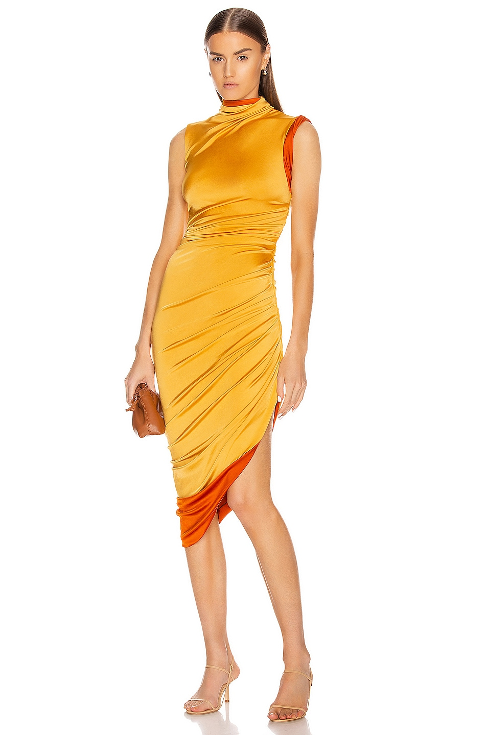 Image 1 of Monse Sleeveless Double Layer Twisted Dress in Mustard