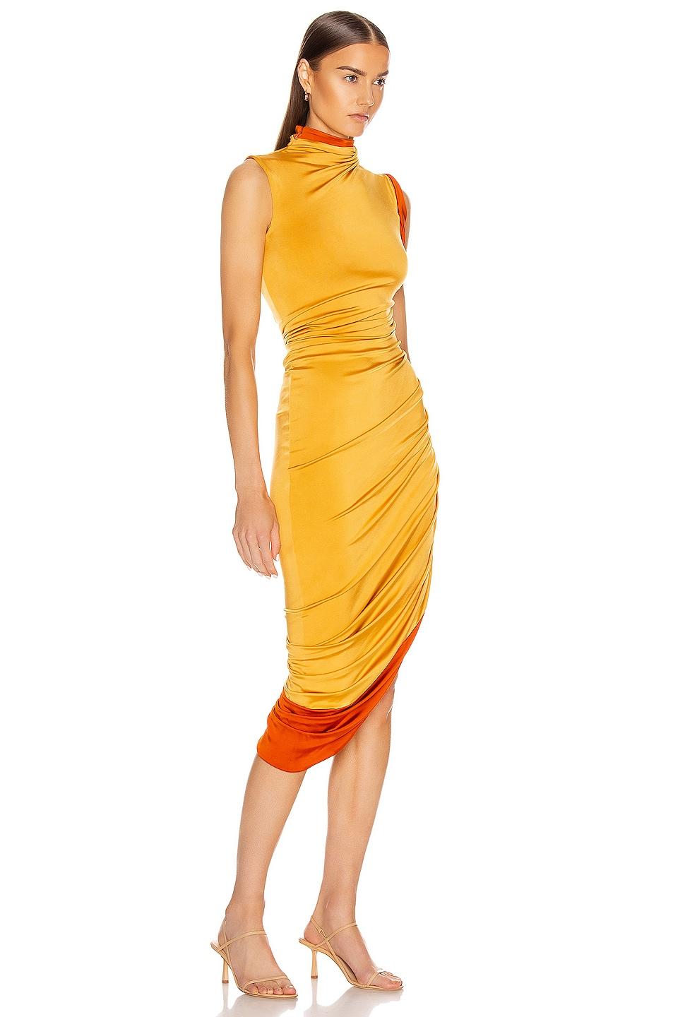 Image 2 of Monse Sleeveless Double Layer Twisted Dress in Mustard