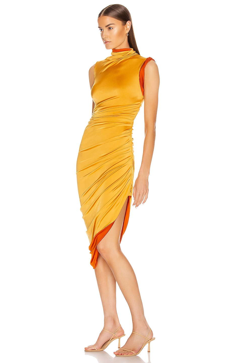 Image 3 of Monse Sleeveless Double Layer Twisted Dress in Mustard