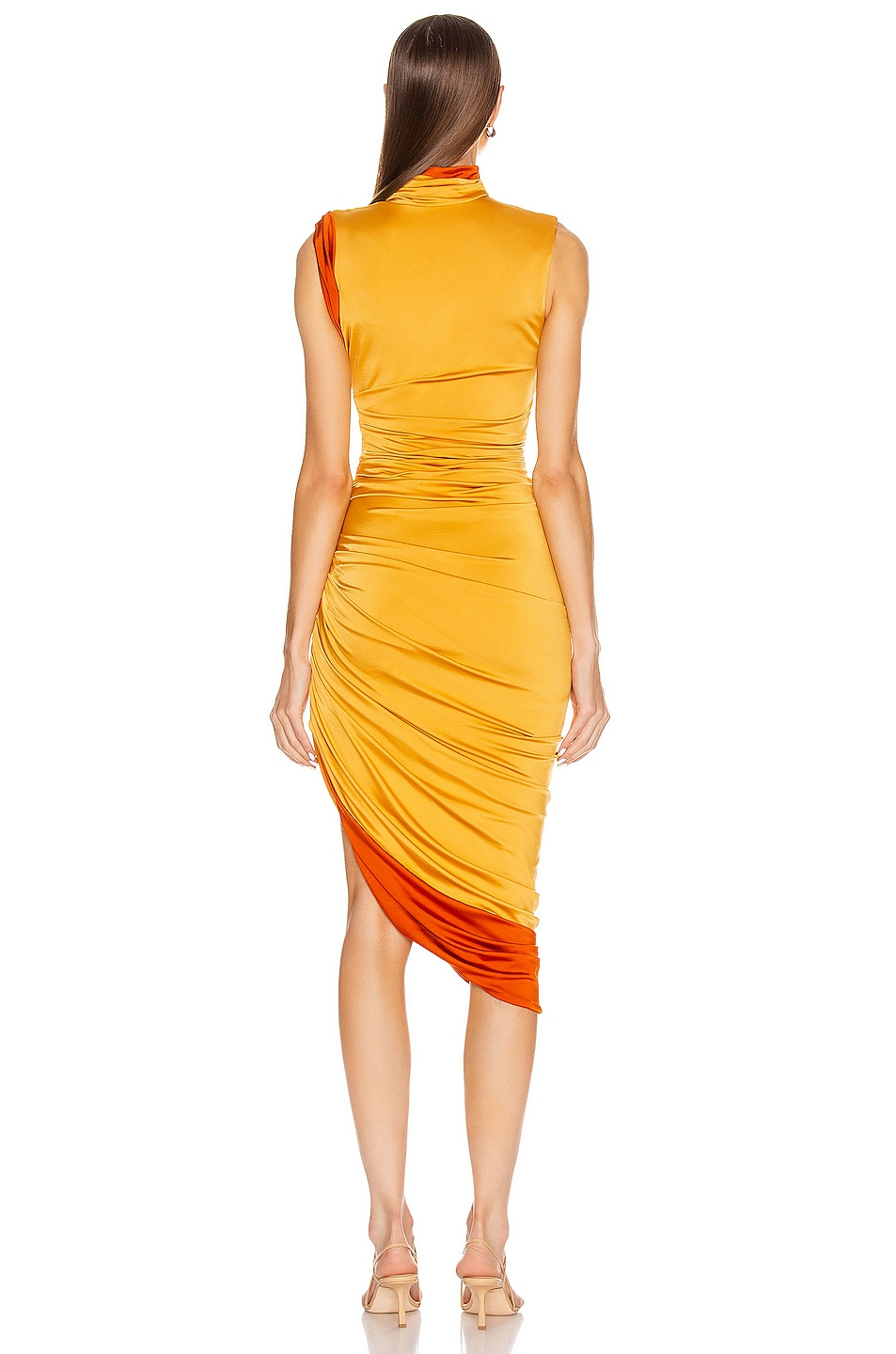 Image 4 of Monse Sleeveless Double Layer Twisted Dress in Mustard