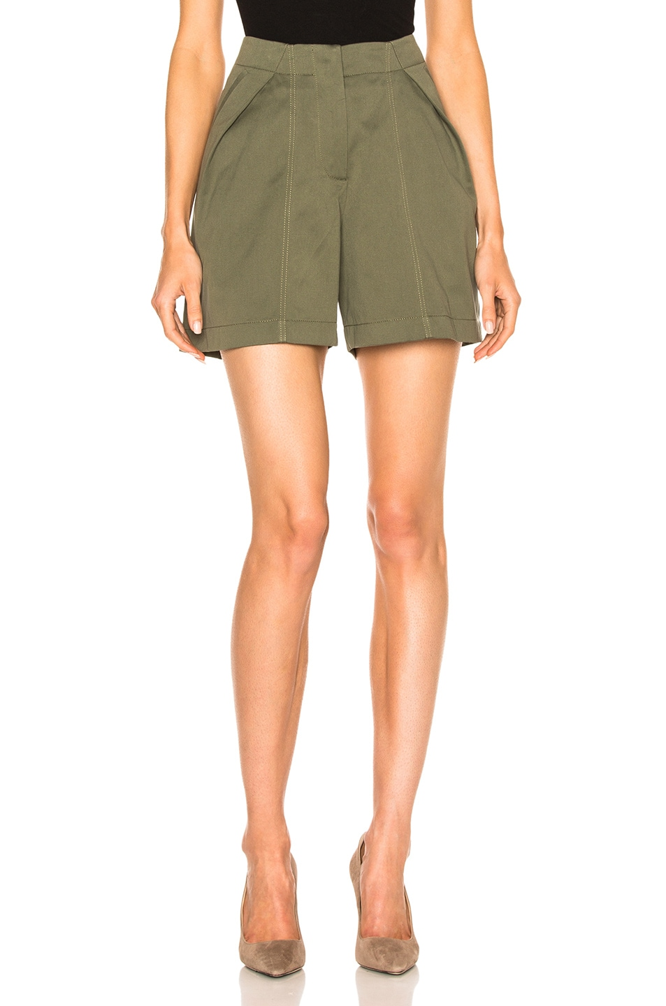 Image 1 of Monse Cotton Canvas Shorts in Olive