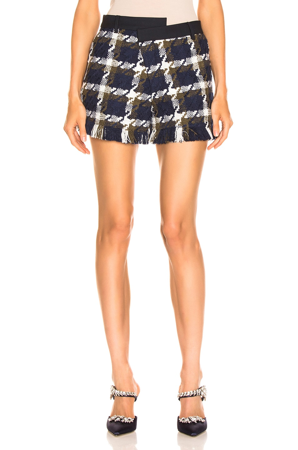 Image 1 of Monse Tweed Asymmetrical Waist Short in Navy, Olive & Ivory