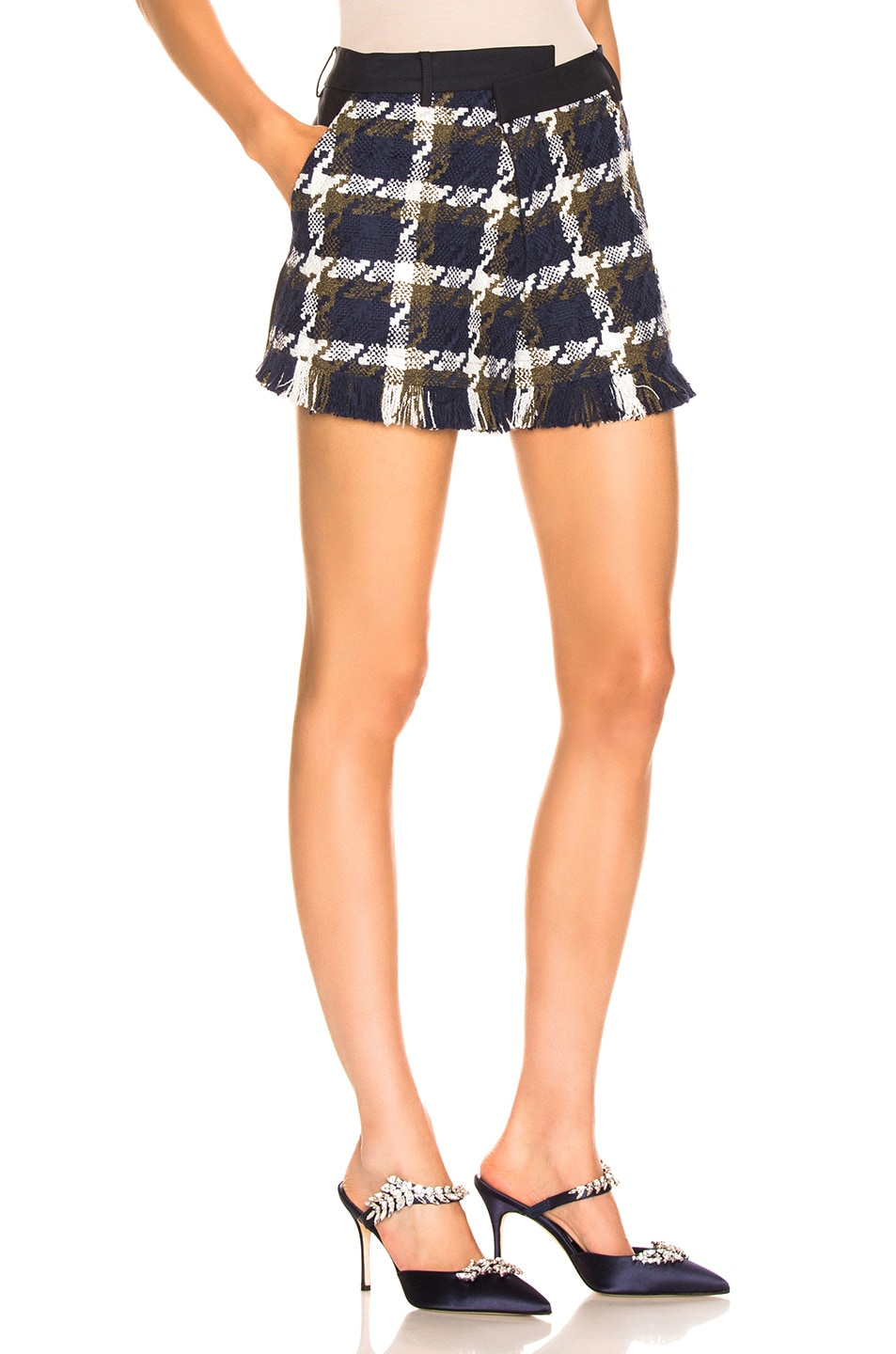 Image 2 of Monse Tweed Asymmetrical Waist Short in Navy, Olive & Ivory