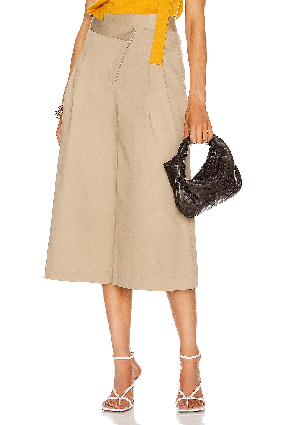 Image 1 of Monse Pleat Front Culotte in Mushroom