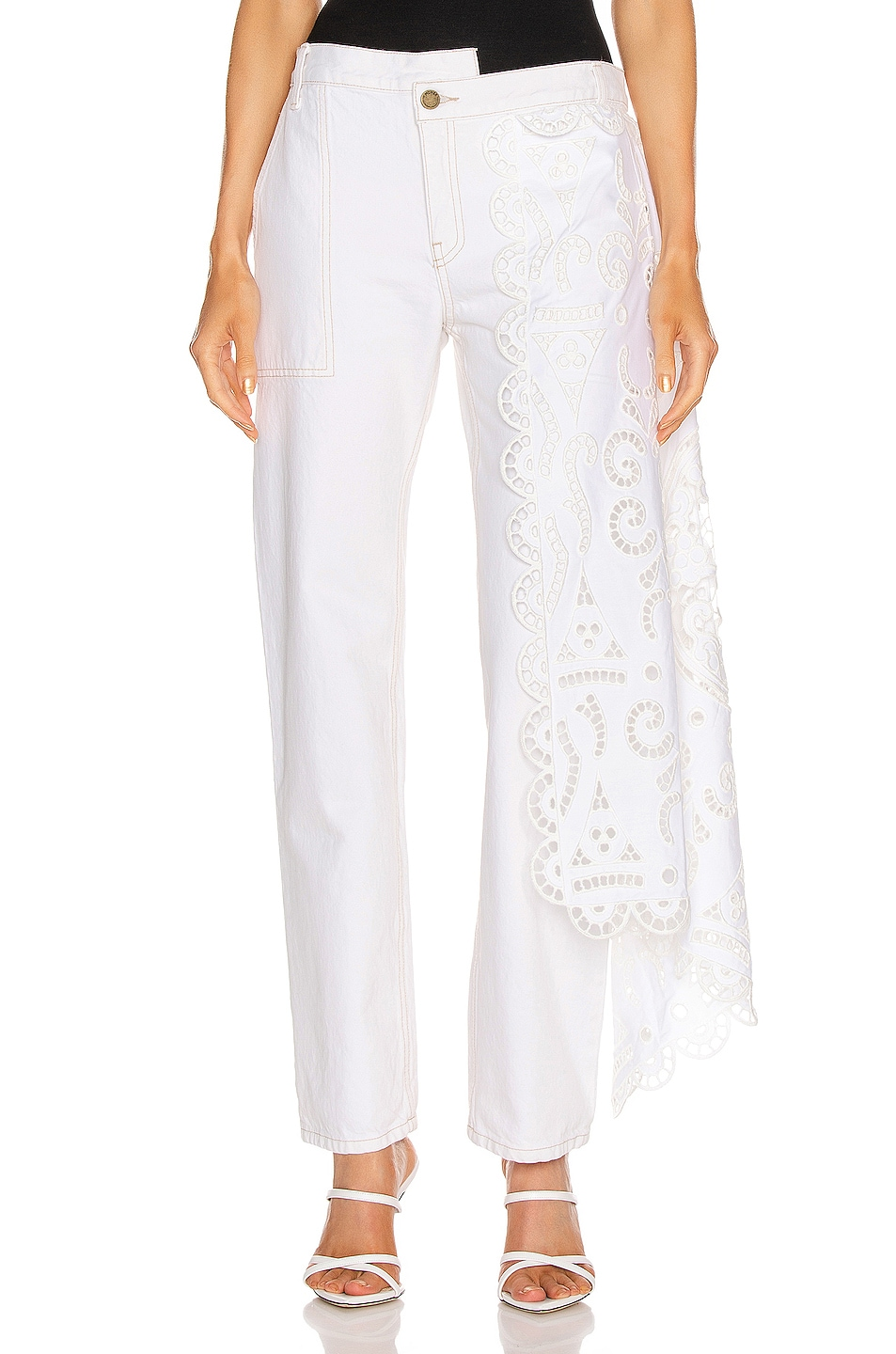Image 1 of Monse Louise Lace Drape Straight Leg in Natural
