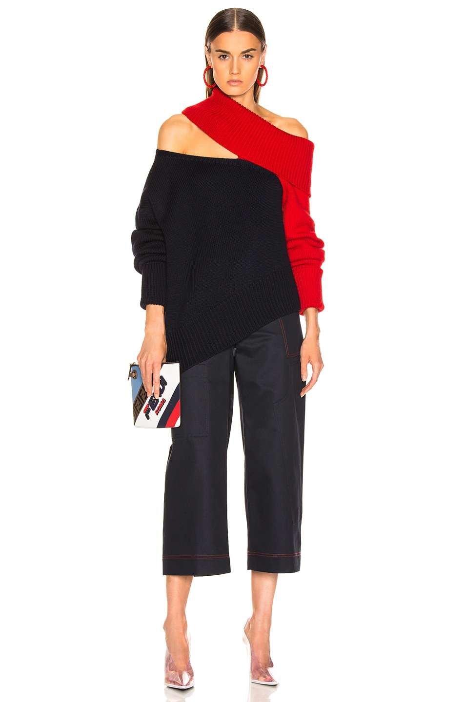 Image 5 of Monse Two Tone Slashed Knit Sweater in Navy & Red