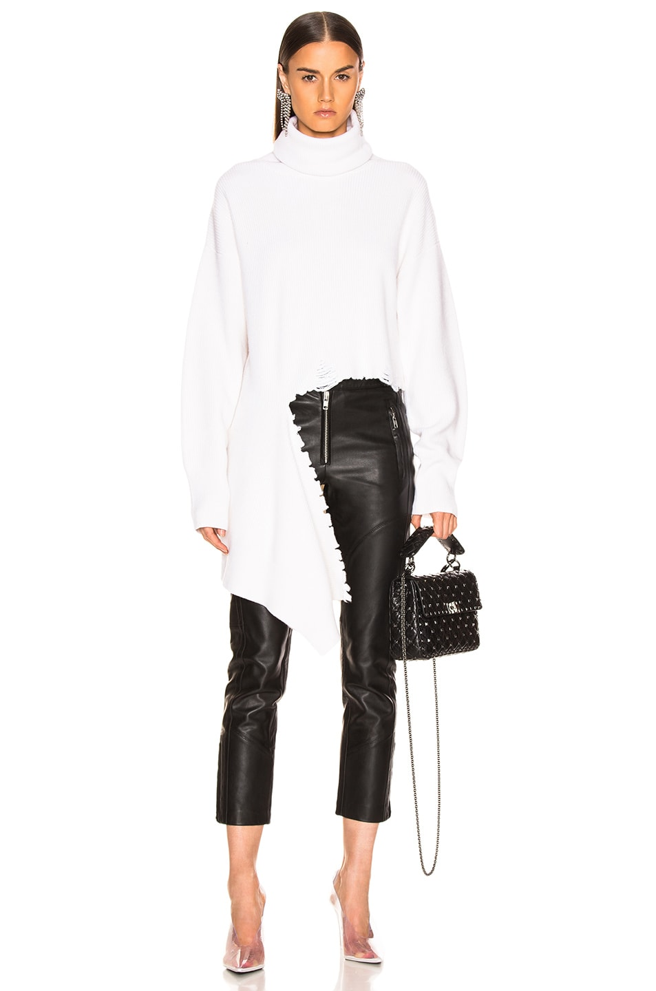 Image 1 of Monse Cascade Rip Turtleneck Sweater in Ivory