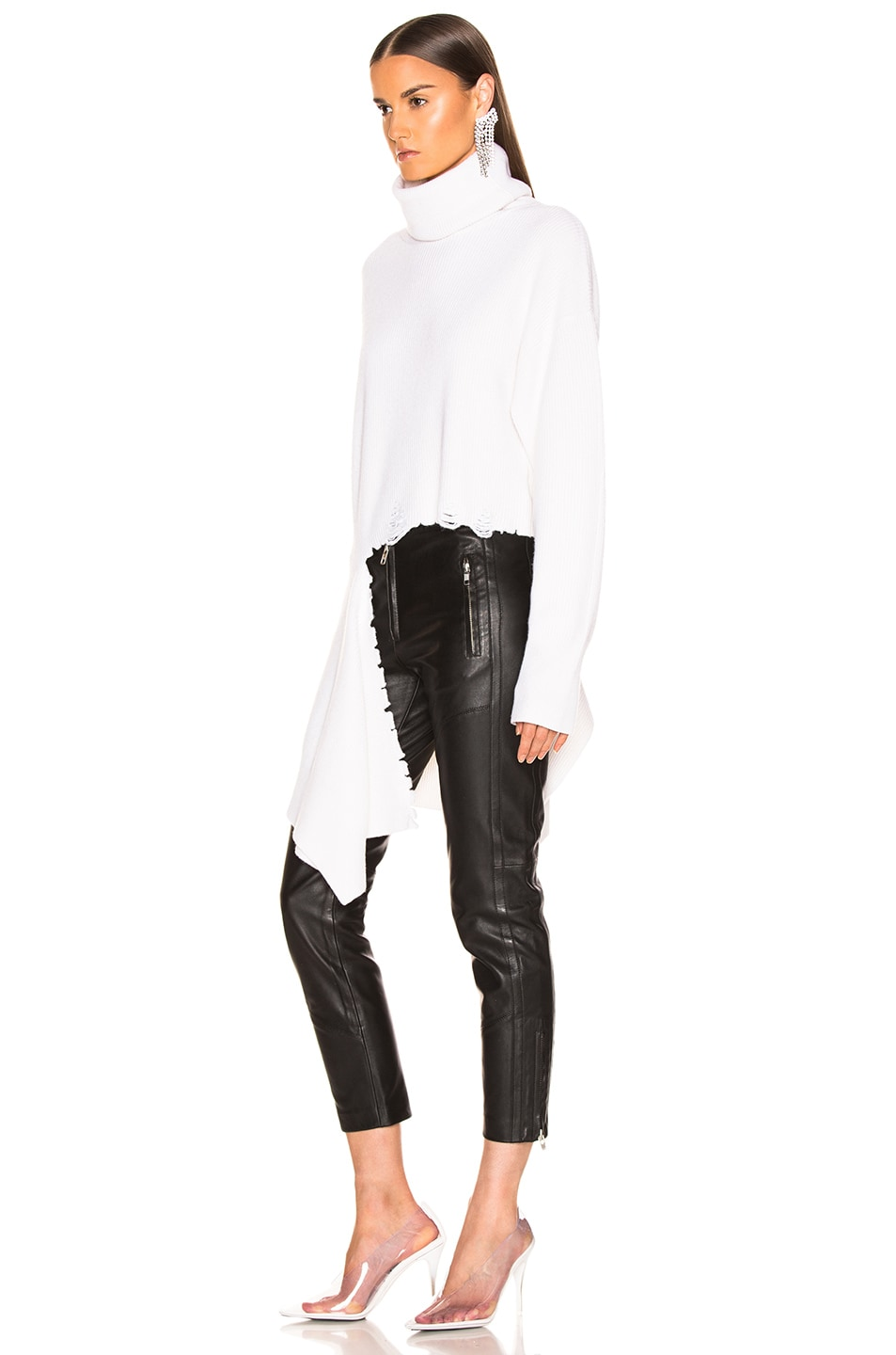 Image 3 of Monse Cascade Rip Turtleneck Sweater in Ivory