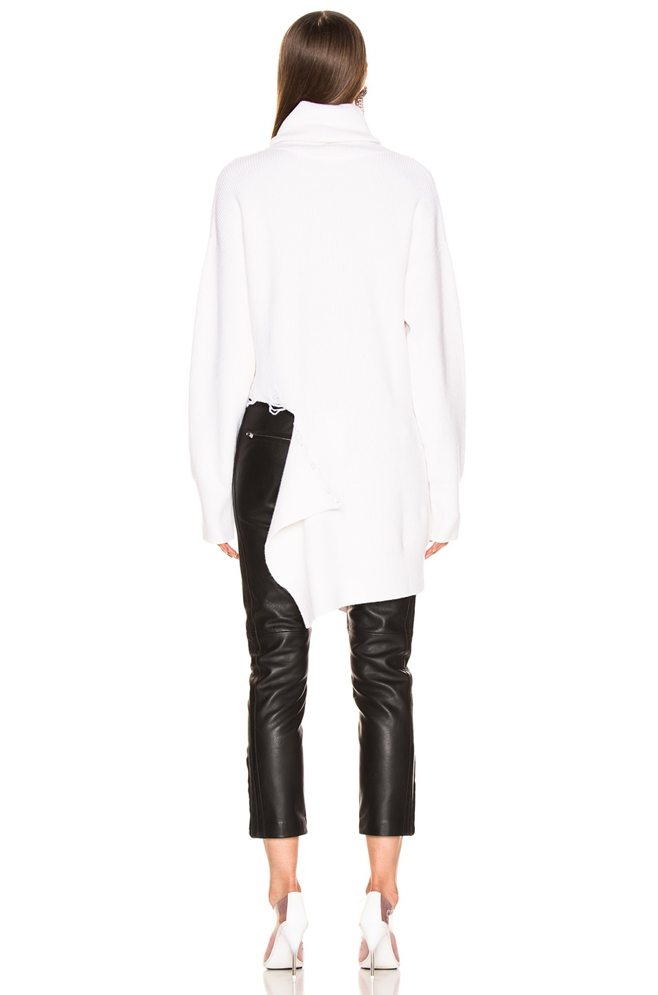 Image 4 of Monse Cascade Rip Turtleneck Sweater in Ivory