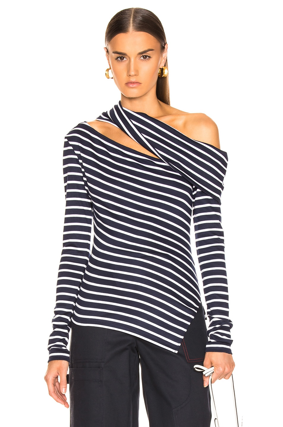 Image 1 of Monse Knit Fitted Slashed Shoulder Sweater in Navy & Ivory