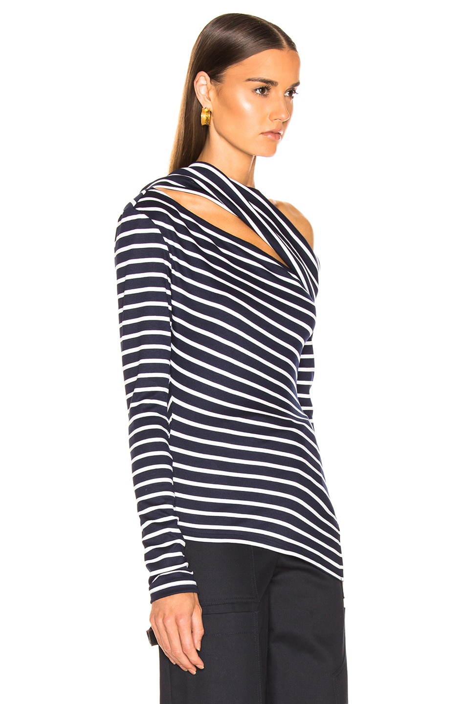 Image 2 of Monse Knit Fitted Slashed Shoulder Sweater in Navy & Ivory