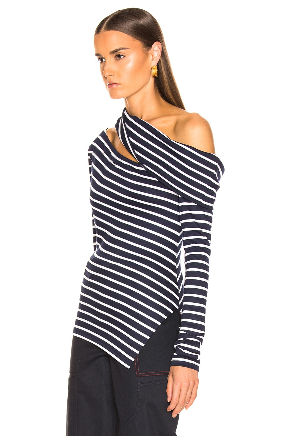 Image 3 of Monse Knit Fitted Slashed Shoulder Sweater in Navy & Ivory