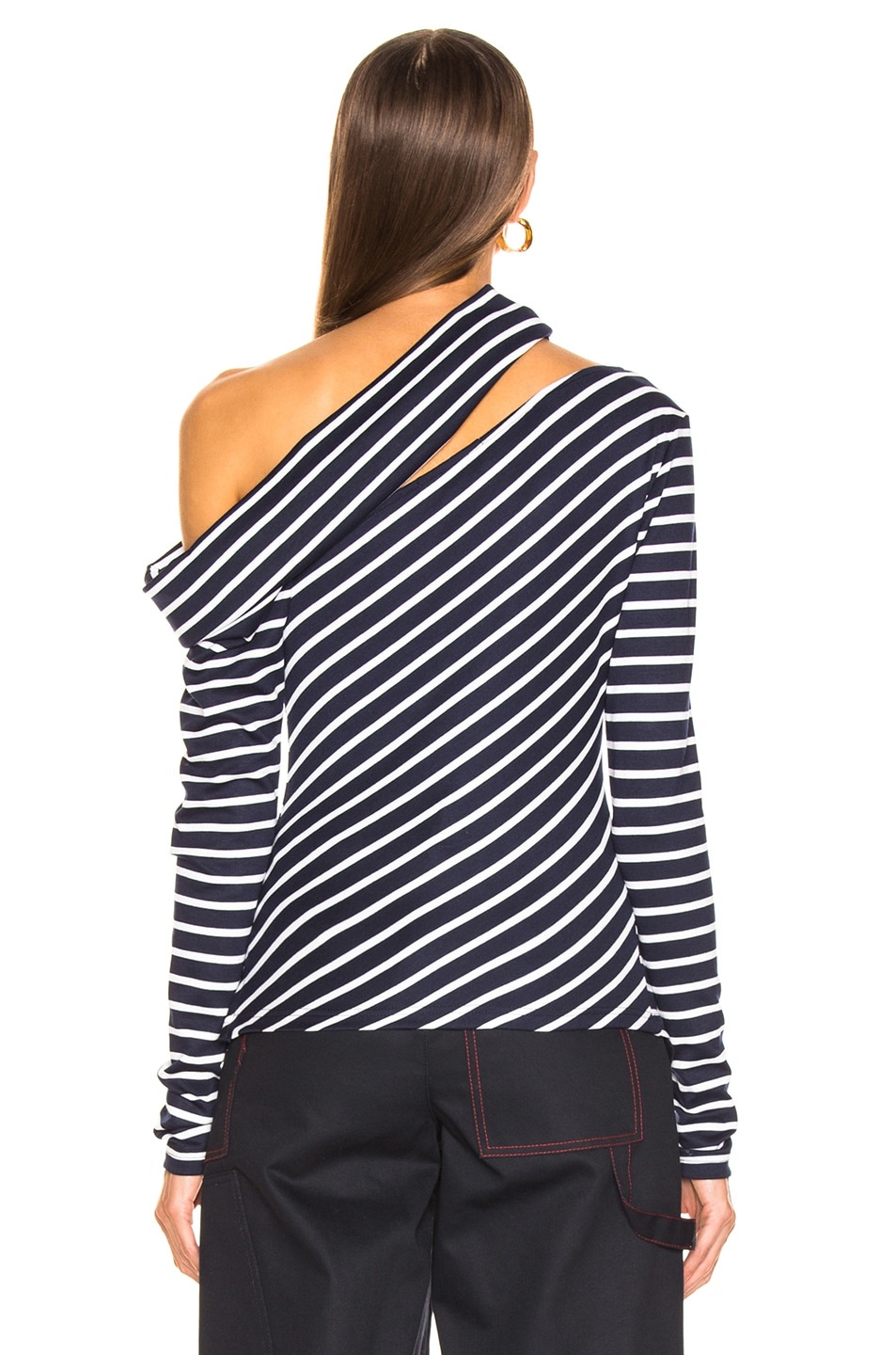 Image 4 of Monse Knit Fitted Slashed Shoulder Sweater in Navy & Ivory