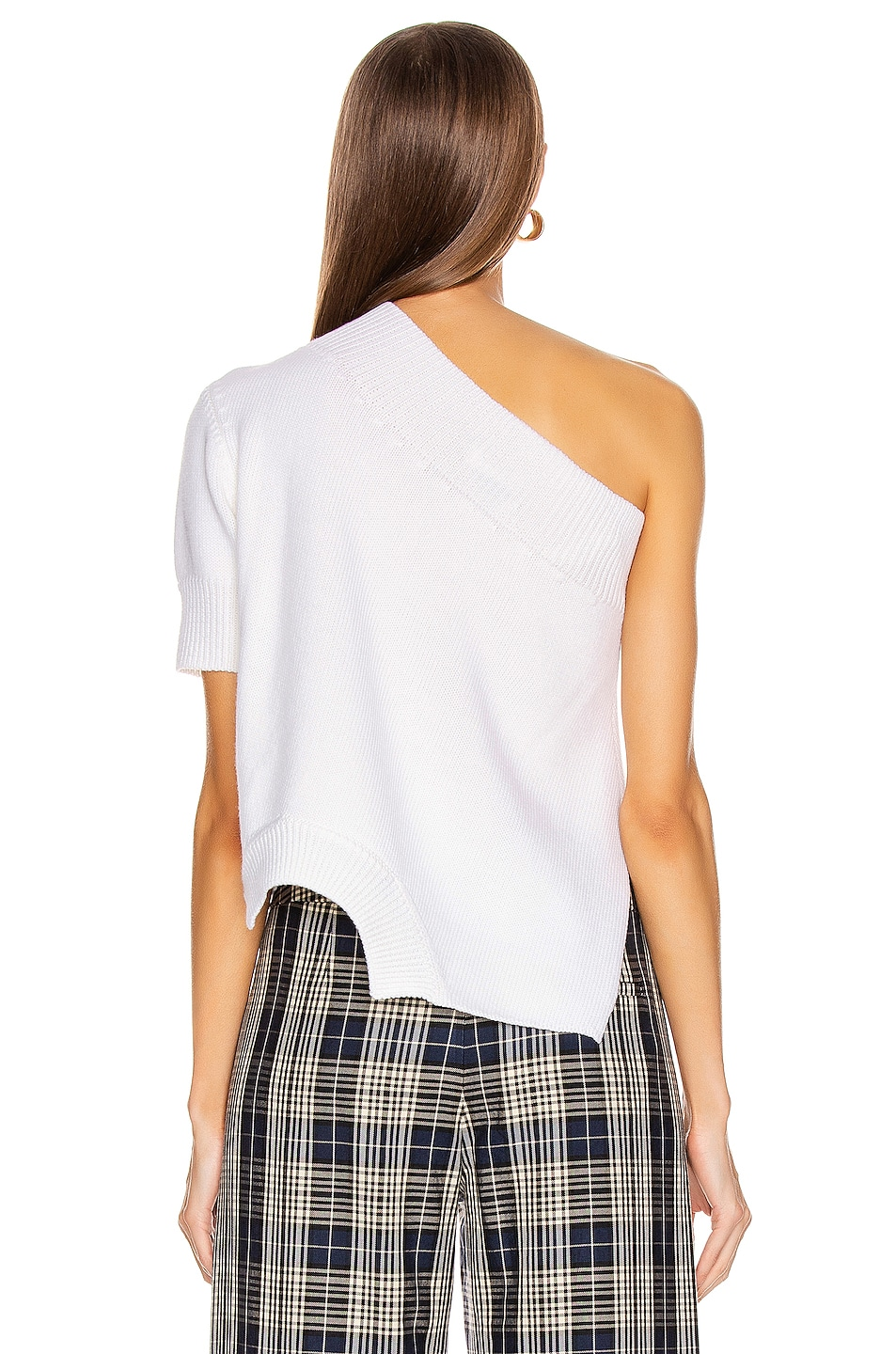 Image 4 of Monse Upside Down One Shoulder Sweater in White