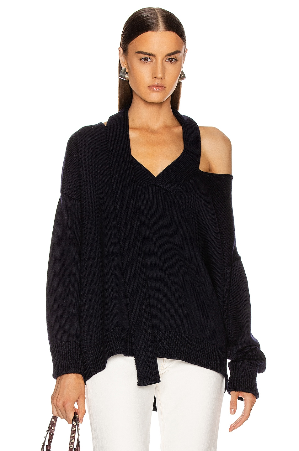 Image 1 of Monse Scarf Neck Drop Shoulder Sweater in Navy