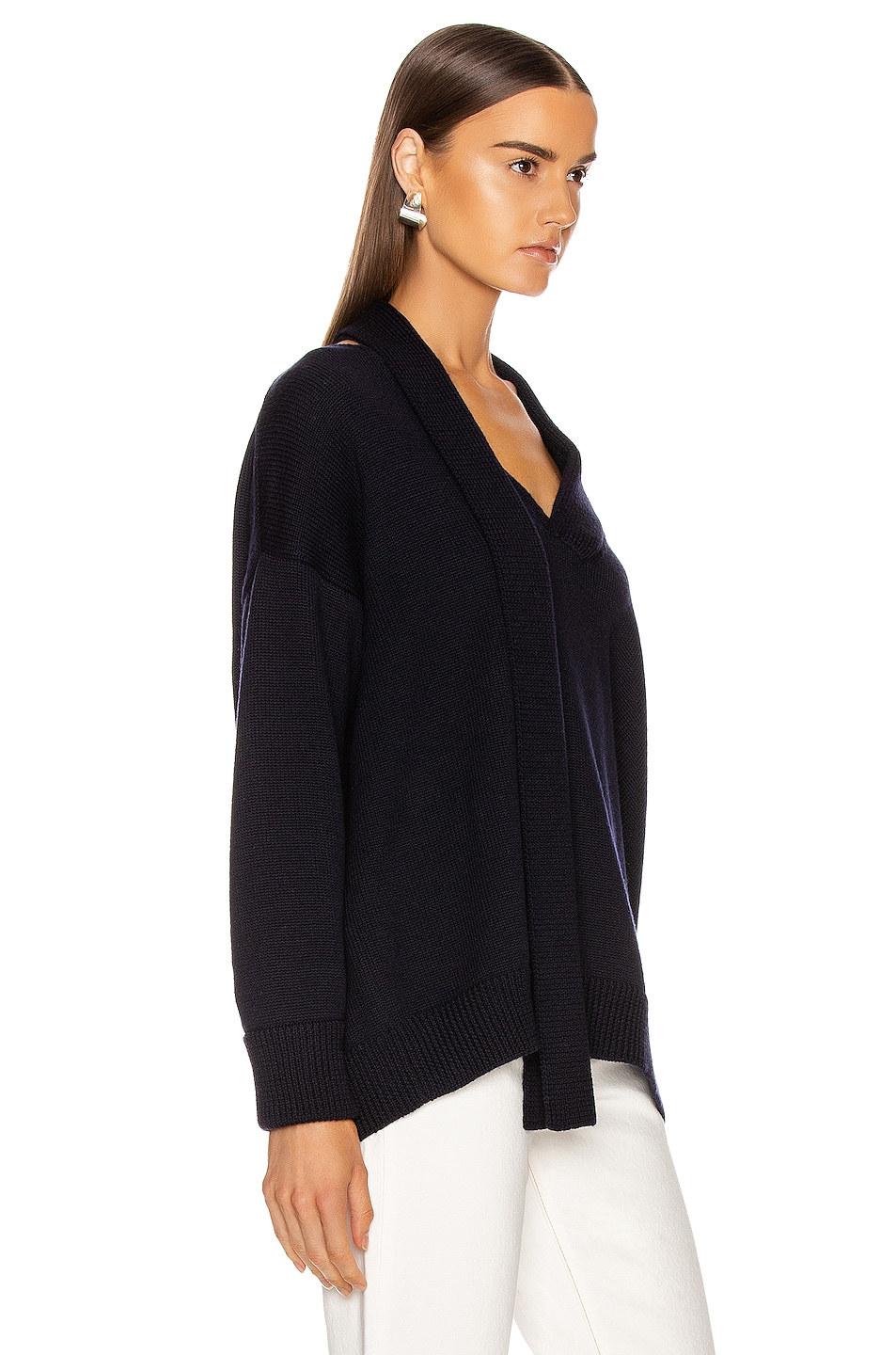 Image 2 of Monse Scarf Neck Drop Shoulder Sweater in Navy