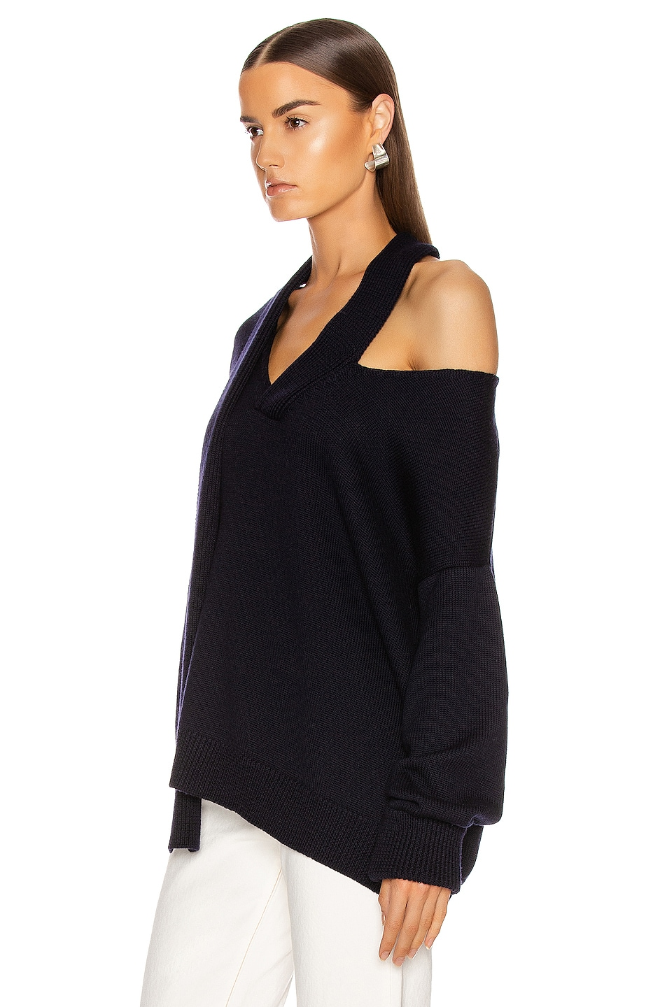 Image 3 of Monse Scarf Neck Drop Shoulder Sweater in Navy
