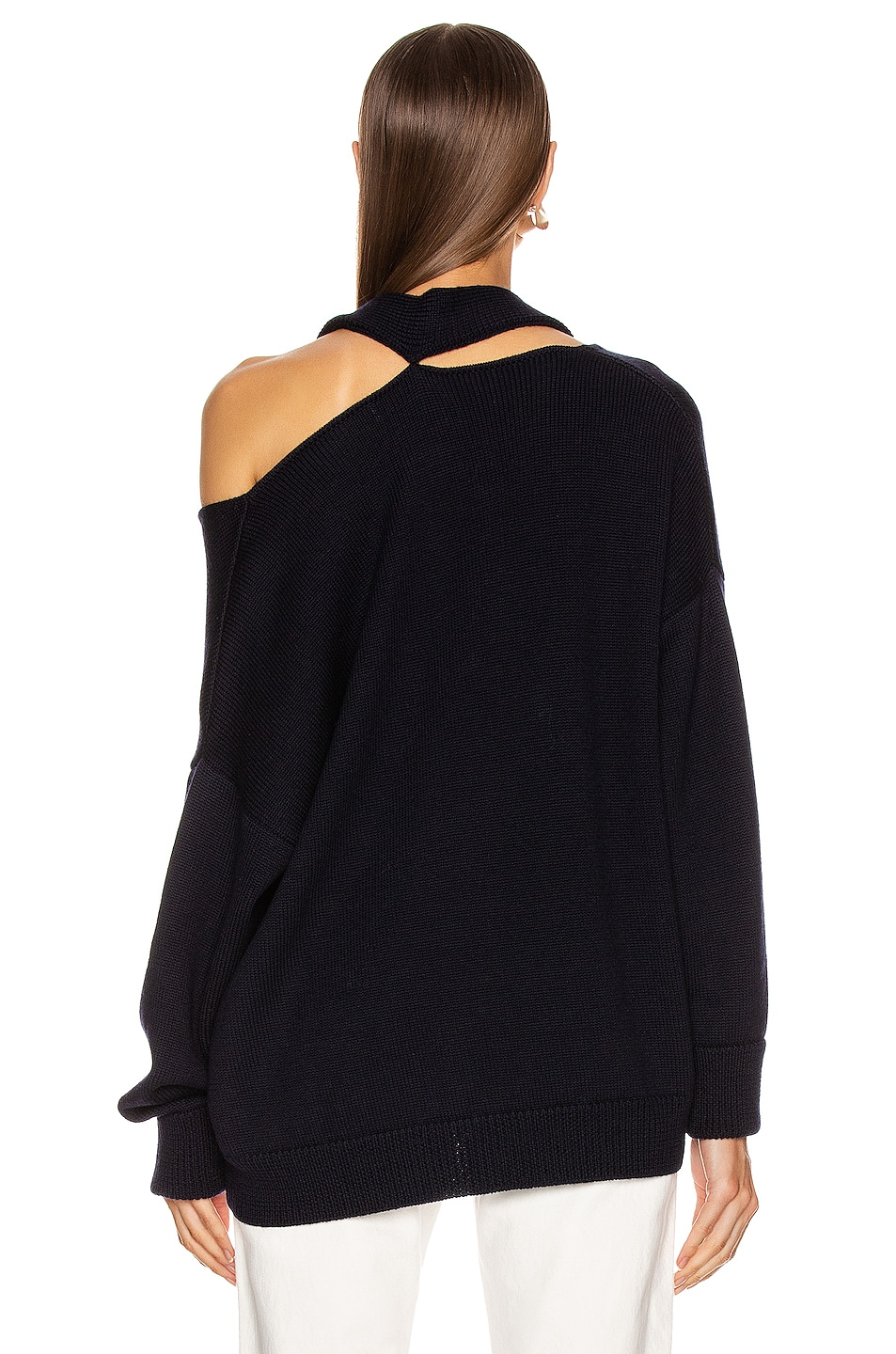 Image 4 of Monse Scarf Neck Drop Shoulder Sweater in Navy