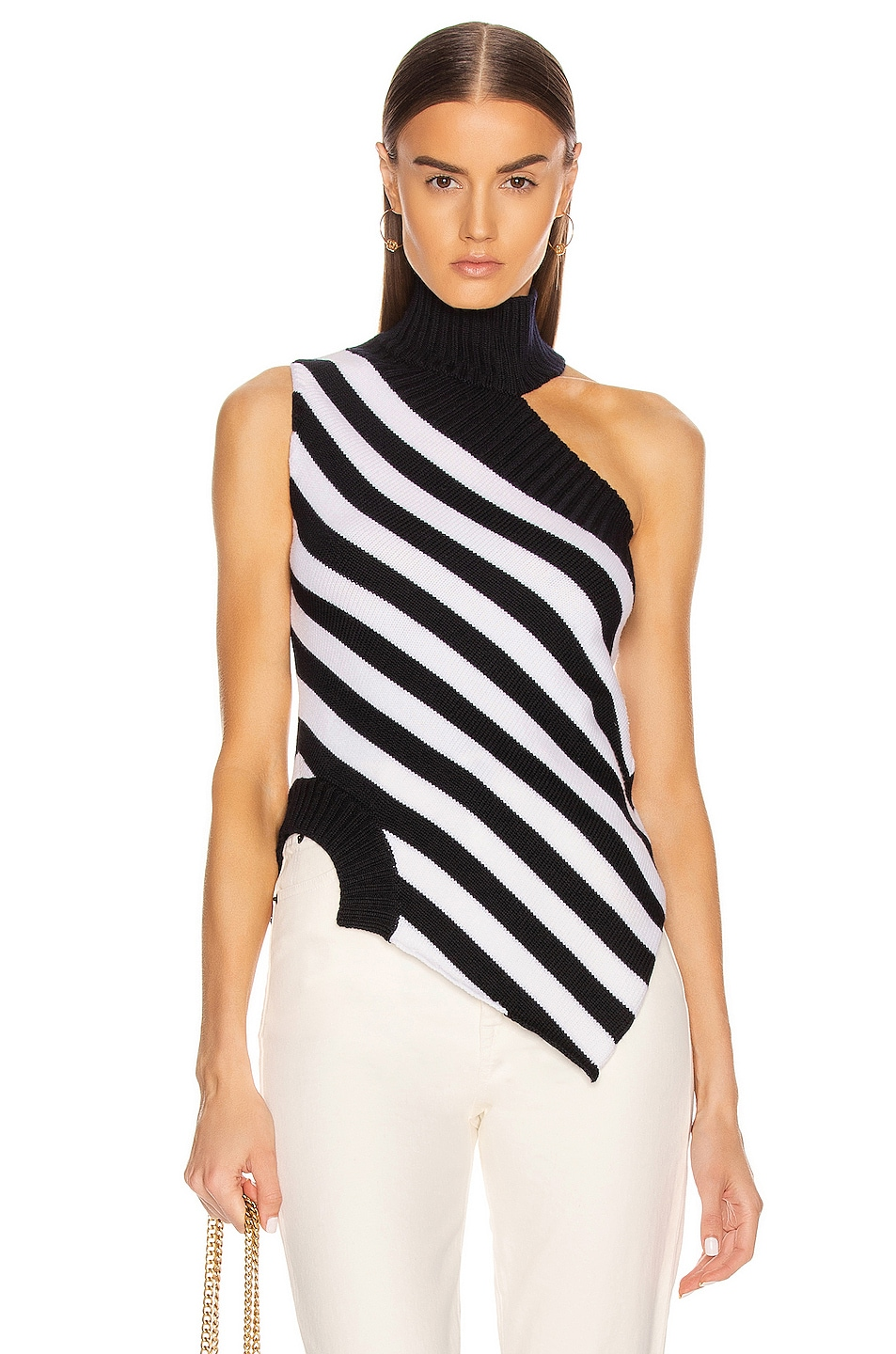 Image 1 of Monse One Shoulder Striped Turtleneck Sweater in Midnight & Ivory