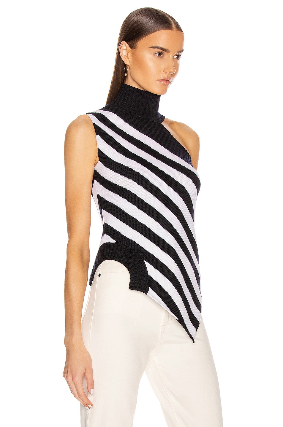 Image 2 of Monse One Shoulder Striped Turtleneck Sweater in Midnight & Ivory
