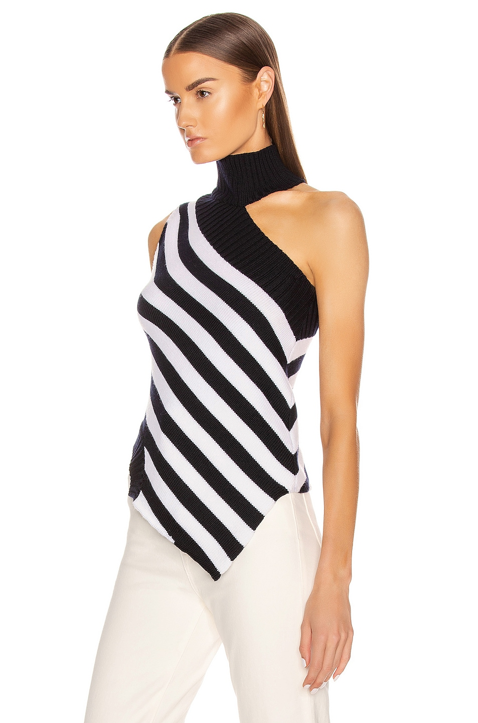 Image 3 of Monse One Shoulder Striped Turtleneck Sweater in Midnight & Ivory